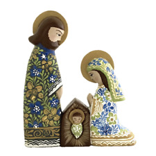 Christmas Nativity figures - Hand made - Wood nativity - Colorful - Floral decor