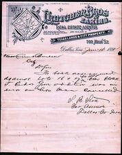 1888 Dallas - Texas Lands & City Property - Crutcher Brothers - Letter Head Rare
