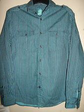 NEXT COTTON BRIGHT TEAL & NAVY STRIPED SHIRT SIZE M (36-38) WORN ONCE