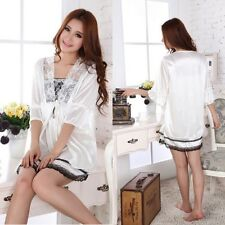 Womens 2PCS White Silk  Sleepwear Nightgown Pajamas Set Long Bath Robes Lingerie