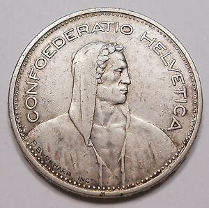 Switzerland 1932 B SILVER 5 Francs VF+ Nice HIGH Grade William Tell Swiss Coin