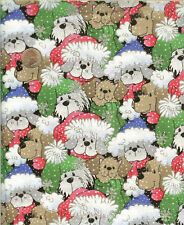 """CHRISTMAS DOGS WITH GLITTER HATS - PATTY REED - BTHY -18""""X44"""""""