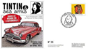 "FDC BELGIQUE ""TINTIN et Amis - VOITURE / BUICK ROADMASTER - ABDALLAH"" 2014"