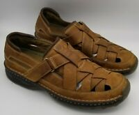 MEN'S TIMBERLAND EARTH KEEPERS FISHERMEN BROWN LEATHER SANDALS SIZE 10M EUC