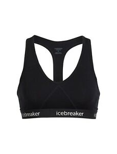 Icebreaker Bodyfit Sprite Racerback Sports Bra Black Merino Wool Size XL - NWT
