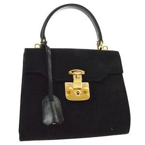 GUCCI Lady Lock 2way Hand Bag Black Nubuck Italy Vintage GHW Authentic A43801j