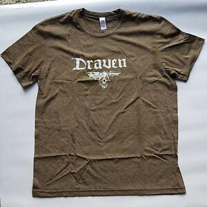 DRAVEN - Winged Skull - Tee Shirt - Large - Authletic Oak - Skateboard Punk
