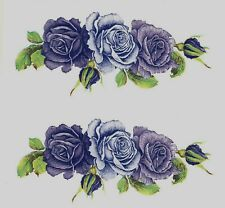 "Purple Lavender Roses Buds 6 pcs 2-5/8"" X 1-1/8"" Waterslide Ceramic Decals Xx"