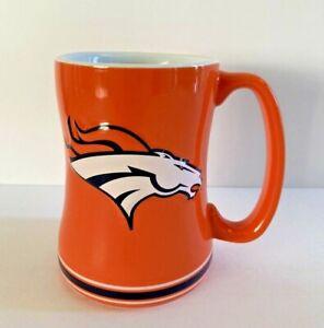 NEW NFL Denver Broncos Mug Raised Sculpted Relief Logo Both Sides LARGE Handle