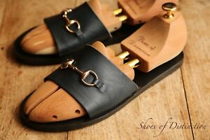 Gucci Navy Blue Leather Sandals Sliders Flip Flops Shoes Men's UK 8 US 9 EU42