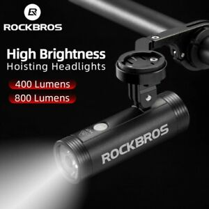 ROCKBROS Bike Headlight Flashlight Waterproof USB Rechargeable Light Power Bank