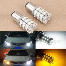 White Amber Dual Color Switchback 60-SMD 1157 LED Turn Signal Parking Lights Car