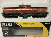 K-LINE DIE CAST READING FLAT CAR BETHLEHEM STEEL PIPE LOAD LN/BOX FOR LIONEL MTH