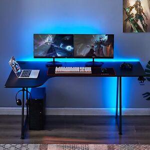 L-Shaped Gaming Desk W/ Cup & Headphone Holder, Carbon Fiber Home office Desk