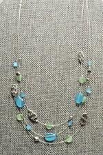 A53) Lia Sophia Pretty Ocean Blue, Green, & Silver-tone 3 Strand Necklace