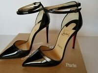 New Auth CHRISTIAN LOUBOUTIN  Uptown Double 100 Black Patent Pump Black 36/US 6