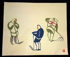 1960s Japanese Woodblock Print Fieldworkers Inagaki Toshijiro (1902-1963)(Fuj)