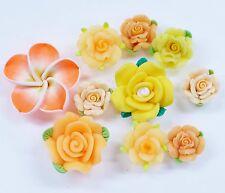 10 pcs Mixed Orange Clay Flowers Cute Flat Back Resin Decoden Cabochons