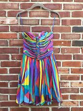 MARA HOFFMAN Strapless Multi-Color Silk Dress Corset Ribbon Top XS 2 RARE!