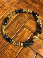 Navy Blue Mother Of Pearl,4x6mm Glass Crystals,Bali Gold Beads. Stretch Bracelet