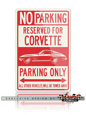 Chevrolet Corvette Coupe C2 Reserved Parking Only 12x18 Aluminum Sign - American