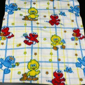 Vintage Sesame Street Blanket Baby Muppets Elmo Cookie Monster Big Bird Fleece