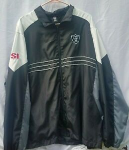 Reebok NFL Team Apparel Raiders SI Windbreaker Jacket XL Zip Up Black White Grey