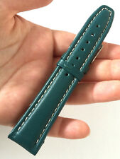 Fortis Mens Swiss Made Bluish Green Leather Watch Band 20mm NOS St Steel Buckle