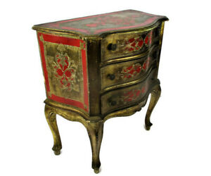 Florentine Nightstand End Table Hall Cabinet Chest of Drawers Gold Red Vintage