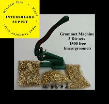 Grommet Machine 3 Die (#0 #2 #4) & 1500 Grommets Brass Eyelet Banner Hand Press