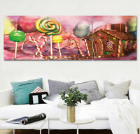 Candyland Hut Candy Cane Abstract Art Wall Decor Print Painting Canvas No Frame