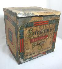 "Antique Lg Advertising Tin - Loose-Wiles Sunshine Creamel Biscuits Box 9"" Square"