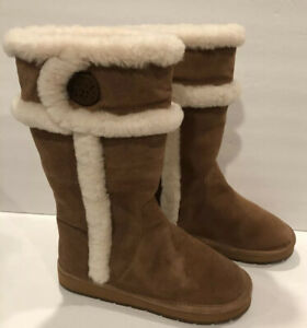 Michael Kors Winter Tall Boots Suede Shearling Fur Chestnut 7 M