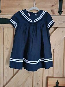Ralph Lauren Girls 100% linen Dress, Marine Style, Size 12 Months, Navy