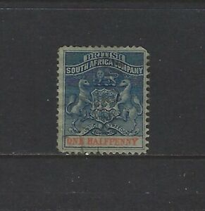 RHODESIA - 1/2p COAT OF ARMS USED STAMP (1892)