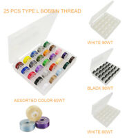 25pcs Type L Prewound Bobbin & Sewing Thread for Embroidery & Sewing Machine
