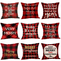 Letter Pillow Case Merry Christmas Xmas Gift Throw Cover Cushion For Home Decor