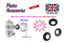 Adapter Ring W/Glass M42 Lens To Nikon AI F Mount SLR/DSLR Camera Infinity Focus