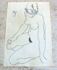 Egon Schiele double signed original pencil study 'Sitzender weiblicher Akt'