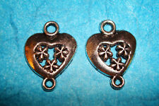 Heart Connector Charms Jewelry Findings Drop Lot of 2 Bead Connectors Hearts