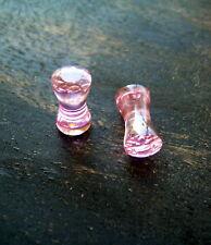 Pair 4g Solid Pink CZ Facet Gem Double Flare Ear Plugs-Gauges-Piercings  z