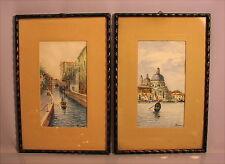 2 alte Aquarelle A. Pisani Venezia Italia Italy um 1915