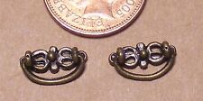 1:12 Scale 2 Antiqued Brass Moving Drawer Pull Handles Dolls House Miniature 721