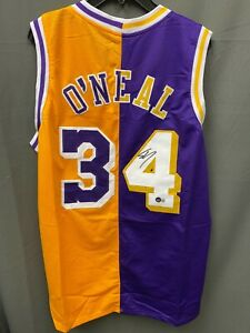 Shaquille O'Neal #34 Signed Two-Tone Split Lakers Jersey AUTO BAS WITNESSED HOLO