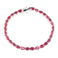 Oval Red Ruby 6x4mm 14k White Gold Plate 925 Sterling Silver Bracelet 7.5 Inches
