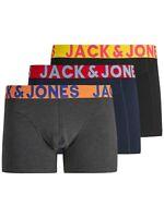 Jack & Jones Mens New 3 Pack Trunks Boxer Shorts Underwear Black Navy Grey
