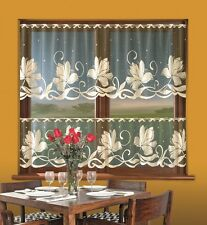 Kitchen Cafe Net Curtain SOLD BY THE METRE Black Net with Beige Flowers