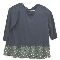 Ann Taylor Loft Women's Size XL 3/4 Sleeve Navy Blue Floral Bottom Trim Blouse