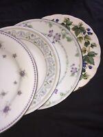 4 - Vintage Mismatched China Salad Dessert Plates Wedding  Purple #75
