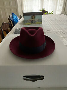 The Cyrus Federa Hat Made In Spain From JJ Hat Center Burgandy 7 1/8